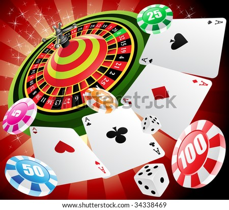 roulette table with various gambling and casino elements