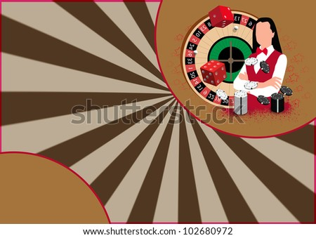 Roulette wheel an dealer girl background with space (poster, web, leaflet, magazine)