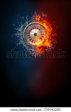 Roulette wheel exploding by elements fire and water. Background for sports tournament poster or placard. Vertical design with copy space.