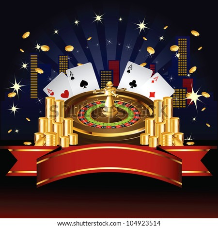 Roulette wheel with coins and cards on night city background