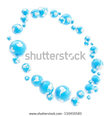 Round abstract circle frame made of earth textured glossy blue and white spheres isolated