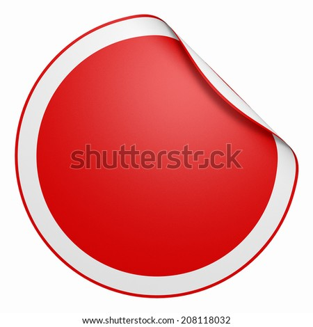 round and folded sticker with white corner- rot #208118032