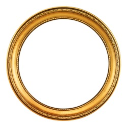 round antique empty picture frame with clipping path