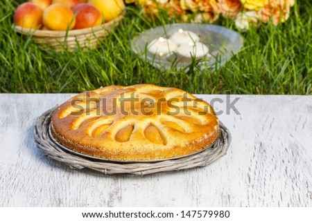 Round apricot cake on cake stand. Garden party, selective focus