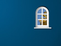round arch window and blue wall