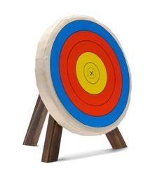 Round Archery Target Isolated on White Background.
