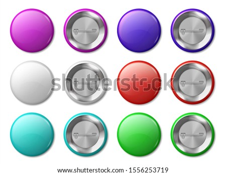 Round badge mockup. Realistic metal labels design template, plastic glossy circle tags, multicolor buttons and pins.  blank badges set
