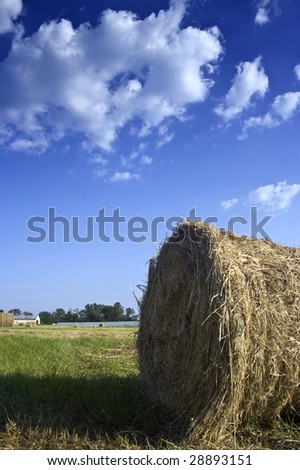 Round bale of hay on a cloudy day