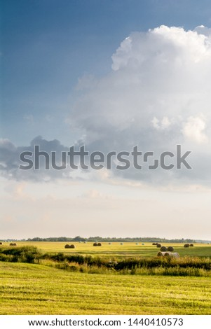 Round bales fill a field wheat field on the northern Great Plains as the last relative warmth of autumn lingers. Evening summer landscape with yellow fields and blue sky