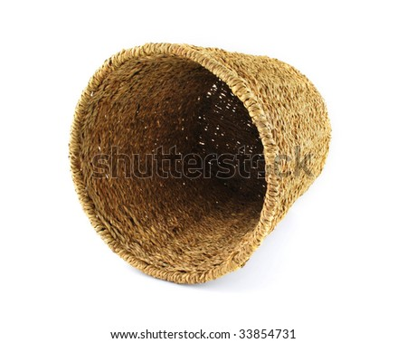 Round basket on white background.