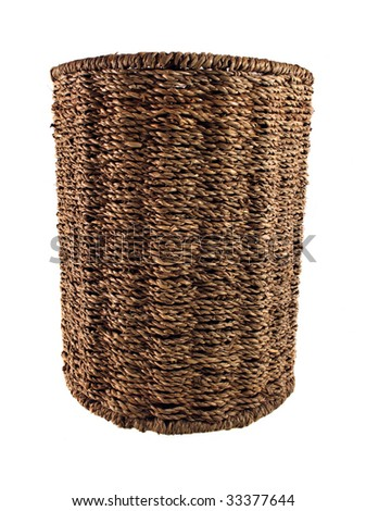 Round basket on white background with clipping path.