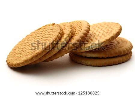 Round biscuits on white background