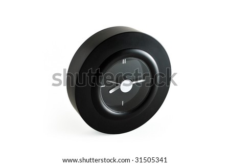 Round black clock with white background