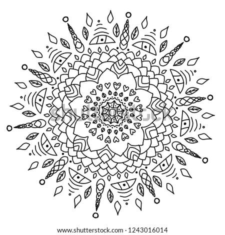 Round black mandala on whte isolated bakground. Mandala with floral elements. Yoga and meditation template. Mandala for coloring Сток-фото ©