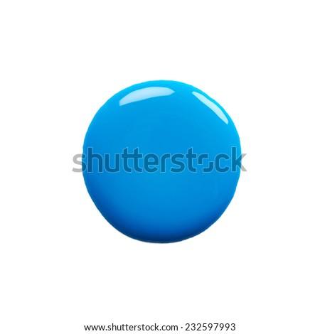 Round blot of blue nail polish isolated on white background