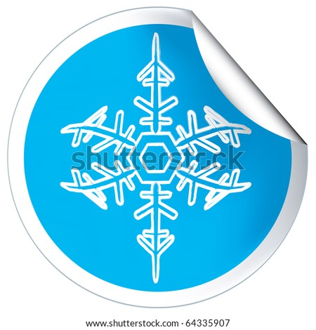 Round blue label badge with snowflakes