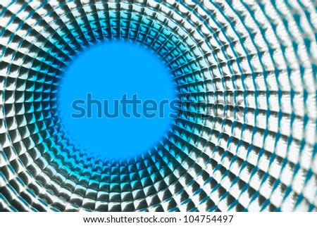round blue point background in silver reflection tunel