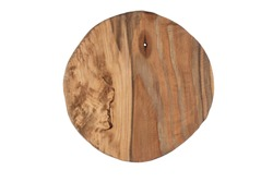 Round board made of wood with a hole and cracks. Wood texture