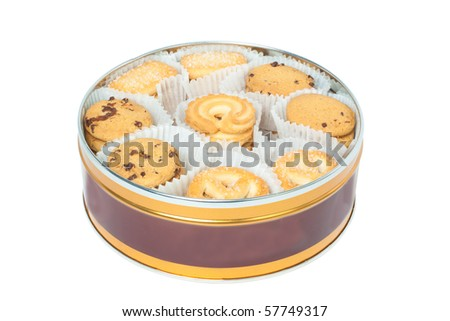 Round box with cookies isolated on white background