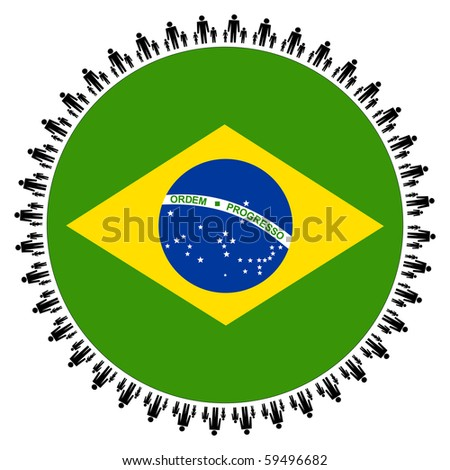 Round Brazilian flag with circle of families illustration JPEG