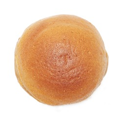 round bread on white background - top view