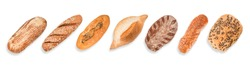 Round bread set in the row isolated. Top view isolated on white, clipping path included