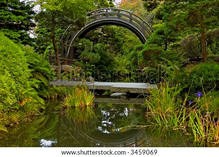 Round bridge in Japanese Tea Garden in Golden Park San Francisco
