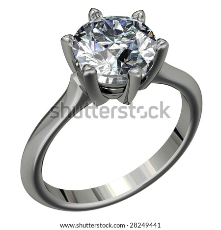 round brilliant cut diamond platinum solitaire engagement ring on white