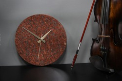 Round burgundy marble clock, Decorative wall clock, natural granite stone, marbling, elite wall clock, qualified and sophisticated