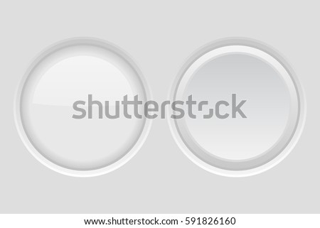 Round buttons. Light gray plastic push buttons. Normal and active. 3d illustration. Raster version
