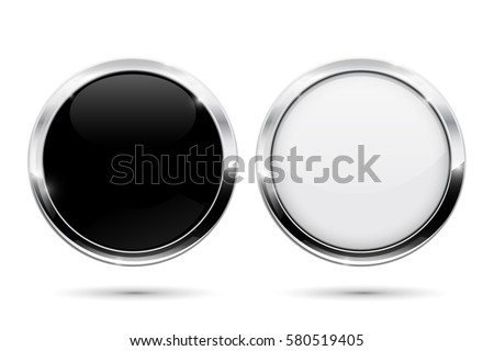 Round buttons with metal frame. Black and white shiny 3d icons. Illustration isolated on white background. Raster version