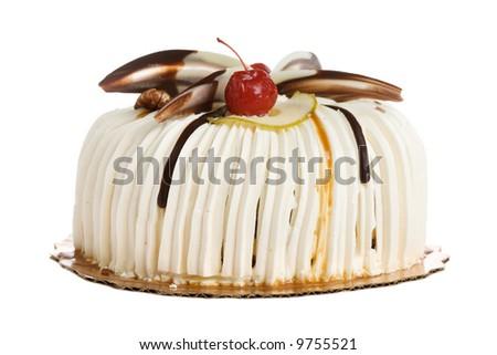 Round cake isolated on white background
