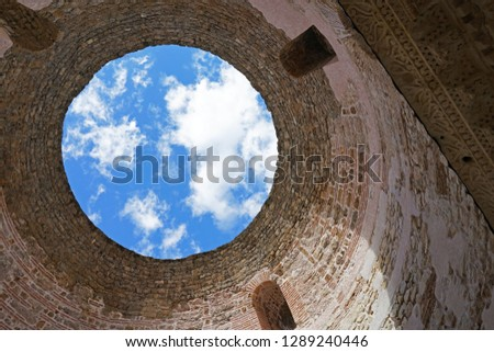 Round ceiling and interior design at Temple of the Aesculapius Diocletian's Palace ,one of the best preserved monuments of the Roman architecture in the world-Split,Croatia