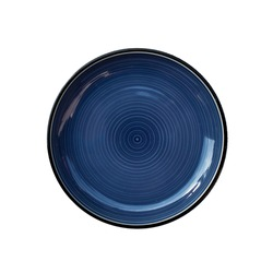 Round ceramic empty plate Dark blue isolate on white background, top view, cut out