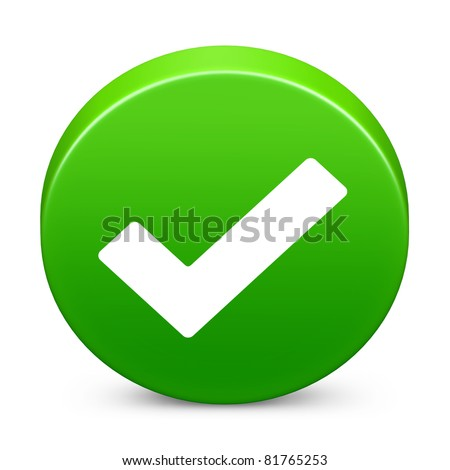 Round check mark in green on isolated white background. 3D render image and part of icon series.