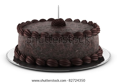 round chocolate cake with candle isolated on white background