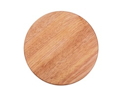 Round chopping board isolated on white