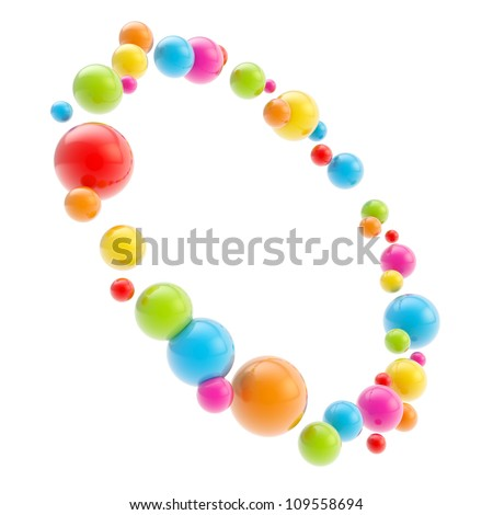 Round circle copyspace frame made of glossy colorful spheres isolated on white background
