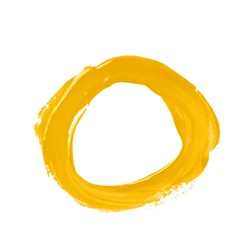 Round circle frame as a design element, made with a paint stroke, composition isolated over the white background