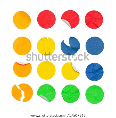 Round Colored Stickers Isolated on White Background. #717507868