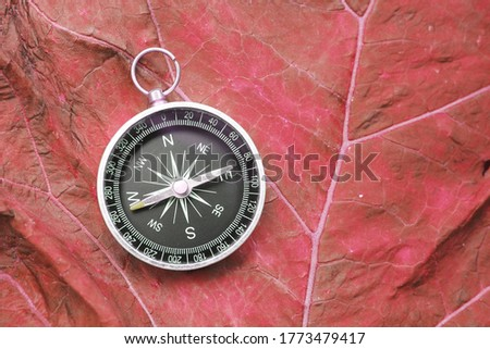 round compass on red abstract background as symbol of tourism with compass, travel with compass and outdoor activities with compass