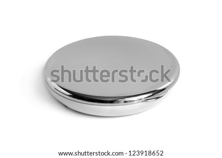 Round cosmetic mirror on a white background