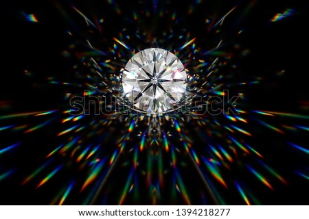 Round cut diamond in spotlight with colorful  caustics rays on black background. 3D illustration