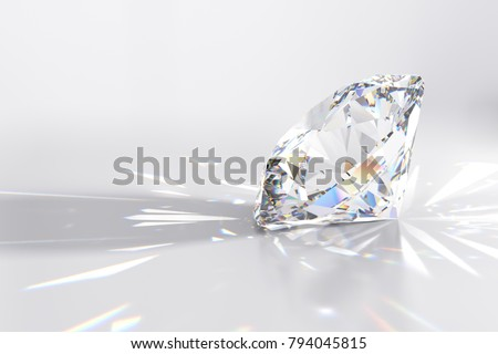 Round cut diamond on white glossy background, rear light, shadow, caustics rays. 3D rendering illustration