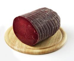 Round Cutting board with half Bresaola salami