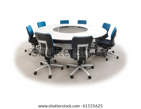 Round desk and chairs