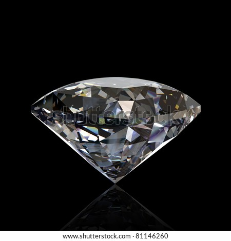 Round diamond isolated on black background. Gemstone