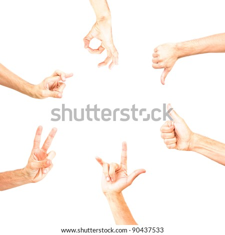 round empty space for text made with hands showing some signs ok no, positive, negative, voting, victory, all right thumb up gesture, gesturing, sign symbol, symbolic, fingers formed isolated on white