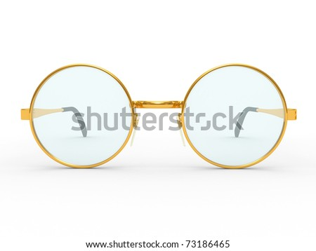 Round eye glasses isolated on white background