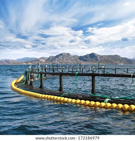 Round fish farm cage in Norwegian Sea